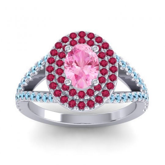 Ornate Oval Halo Dhala Pink Tourmaline Ring with Ruby and Aquamarine in Platinum