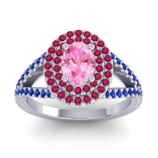 Ornate Oval Halo Dhala Pink Tourmaline Ring with Ruby and Blue Sapphire in Palladium