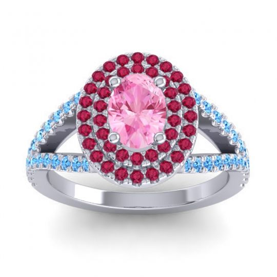 Ornate Oval Halo Dhala Pink Tourmaline Ring with Ruby and Swiss Blue Topaz in 18k White Gold