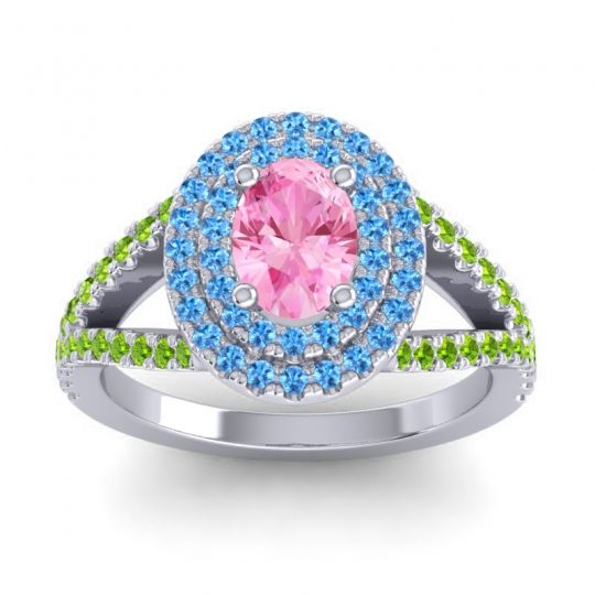 Ornate Oval Halo Dhala Pink Tourmaline Ring with Swiss Blue Topaz and Peridot in 14k White Gold