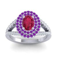 Ornate Oval Halo Dhala Ruby Ring with Amethyst and Diamond in Platinum