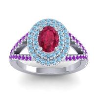 Ornate Oval Halo Dhala Ruby Ring with Aquamarine and Amethyst in 14k White Gold