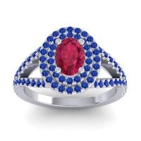Ornate Oval Halo Dhala Ruby Ring with Blue Sapphire in Palladium