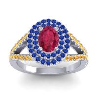 Ornate Oval Halo Dhala Ruby Ring with Blue Sapphire and Citrine in 18k White Gold