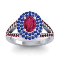 Ornate Oval Halo Dhala Ruby Ring with Blue Sapphire and Garnet in Platinum