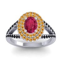 Ornate Oval Halo Dhala Ruby Ring with Citrine and Black Onyx in Palladium