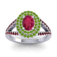 Ornate Oval Halo Dhala Ruby Ring with Peridot and Garnet in Platinum