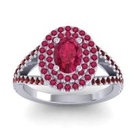 Ornate Oval Halo Dhala Ruby Ring with Garnet in 18k White Gold