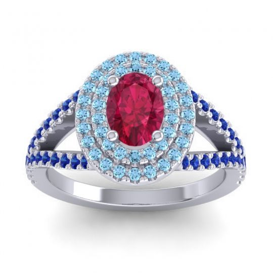 Ornate Oval Halo Dhala Ruby Ring with Aquamarine and Blue Sapphire in Platinum