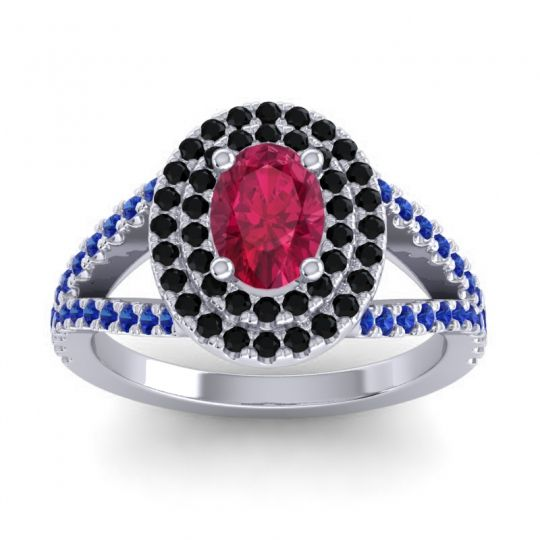 Ornate Oval Halo Dhala Ruby Ring with Black Onyx and Blue Sapphire in 18k White Gold