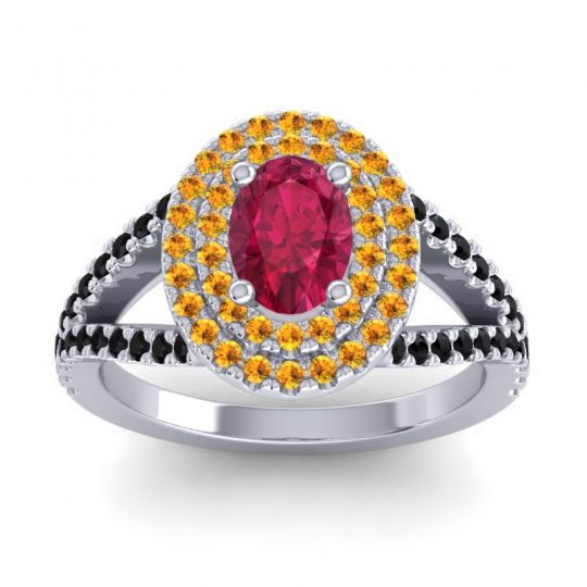 Ornate Oval Halo Dhala Ruby Ring with Citrine and Black Onyx in 18k White Gold