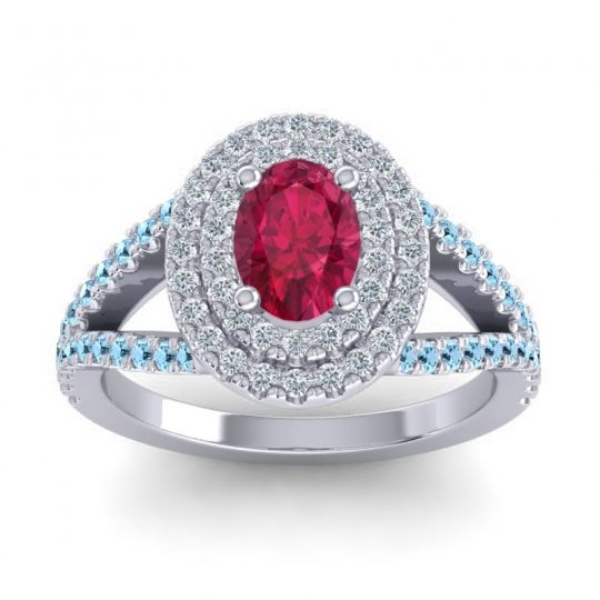 Ornate Oval Halo Dhala Ruby Ring with Diamond and Aquamarine in Platinum