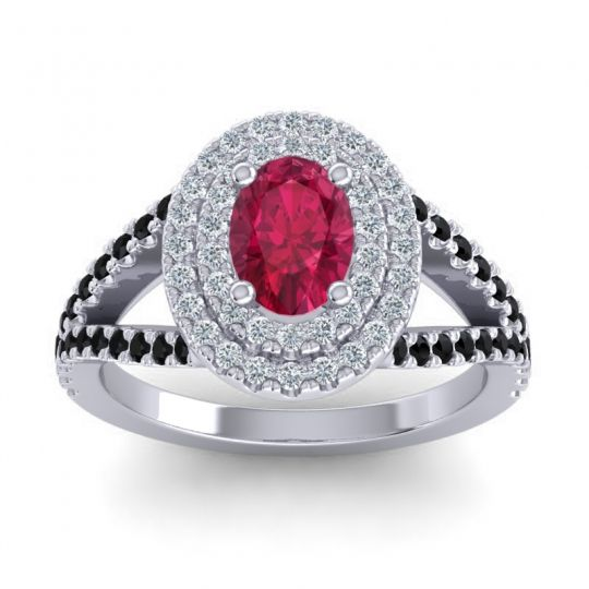 Ornate Oval Halo Dhala Ruby Ring with Diamond and Black Onyx in Palladium