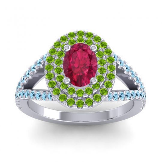 Ornate Oval Halo Dhala Ruby Ring with Peridot and Aquamarine in Palladium
