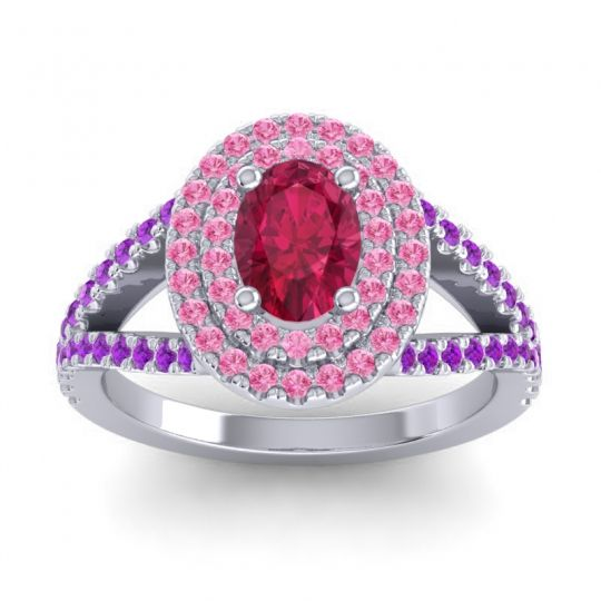 Ornate Oval Halo Dhala Ruby Ring with Pink Tourmaline and Amethyst in Platinum