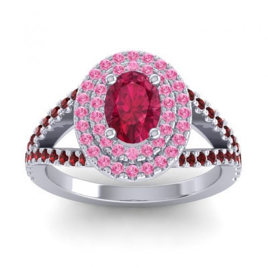 Ornate Oval Halo Dhala Ruby Ring with Pink Tourmaline and Garnet in Platinum