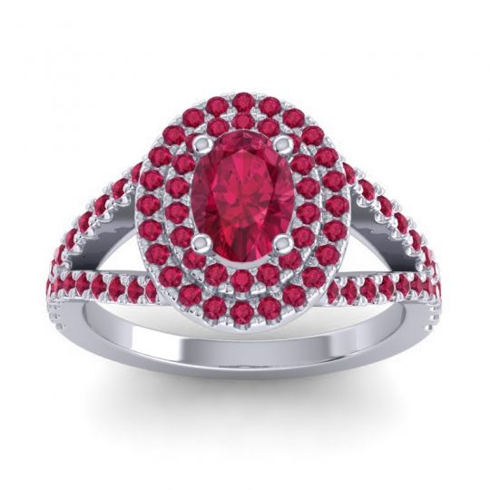 Ornate Oval Halo Dhala Ruby Ring in Platinum