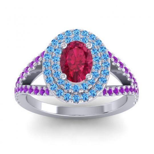 Ornate Oval Halo Dhala Ruby Ring with Swiss Blue Topaz and Amethyst in 14k White Gold