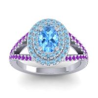 Ornate Oval Halo Dhala Swiss Blue Topaz Ring with Aquamarine and Amethyst in Palladium