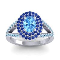 Ornate Oval Halo Dhala Swiss Blue Topaz Ring with Blue Sapphire and Aquamarine in 14k White Gold