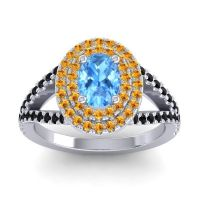 Ornate Oval Halo Dhala Swiss Blue Topaz Ring with Citrine and Black Onyx in 18k White Gold