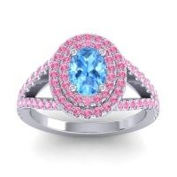 Ornate Oval Halo Dhala Swiss Blue Topaz Ring with Pink Tourmaline in Platinum