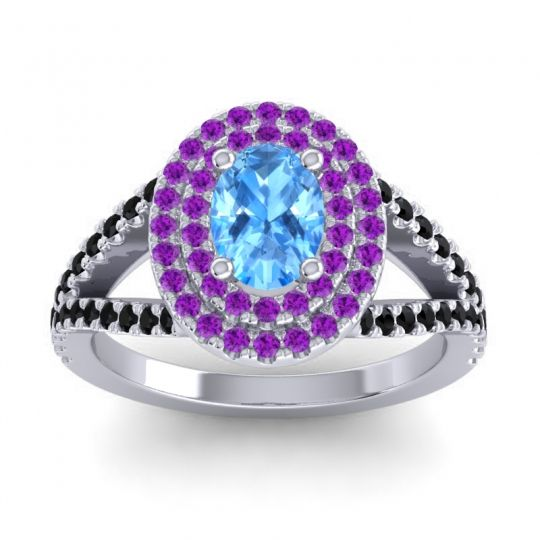 Ornate Oval Halo Dhala Swiss Blue Topaz Ring with Amethyst and Black Onyx in Platinum