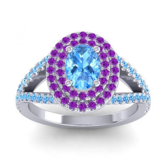 Ornate Oval Halo Dhala Swiss Blue Topaz Ring with Amethyst in 18k White Gold