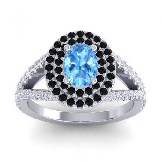 Ornate Oval Halo Dhala Swiss Blue Topaz Ring with Black Onyx and Diamond in 18k White Gold