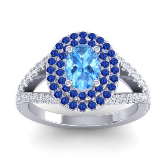 Ornate Oval Halo Dhala Swiss Blue Topaz Ring with Blue Sapphire and Diamond in 14k White Gold