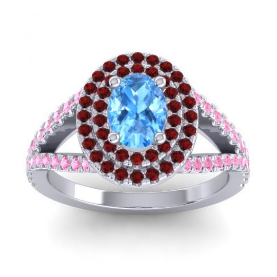 Ornate Oval Halo Dhala Swiss Blue Topaz Ring with Garnet and Pink Tourmaline in Palladium