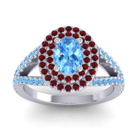 Ornate Oval Halo Dhala Swiss Blue Topaz Ring with Garnet in Platinum