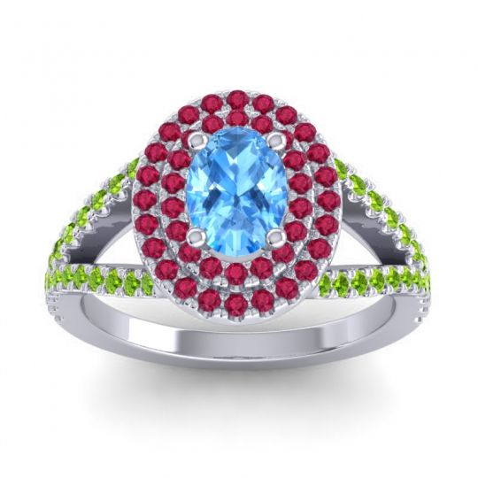Ornate Oval Halo Dhala Swiss Blue Topaz Ring with Ruby and Peridot in 18k White Gold