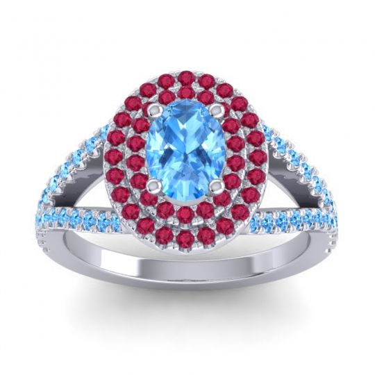 Ornate Oval Halo Dhala Swiss Blue Topaz Ring with Ruby in Platinum