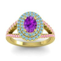Ornate Oval Halo Dhala Amethyst Ring with Aquamarine and Pink Tourmaline in 14k Yellow Gold