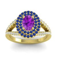 Ornate Oval Halo Dhala Amethyst Ring with Blue Sapphire and Diamond in 18k Yellow Gold