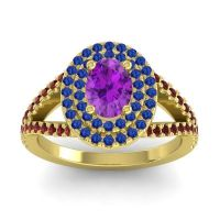 Ornate Oval Halo Dhala Amethyst Ring with Blue Sapphire and Garnet in 18k Yellow Gold