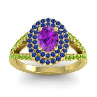 Ornate Oval Halo Dhala Amethyst Ring with Blue Sapphire and Peridot in 18k Yellow Gold