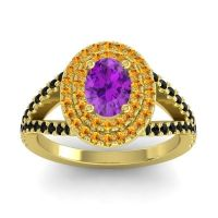 Ornate Oval Halo Dhala Amethyst Ring with Citrine and Black Onyx in 14k Yellow Gold