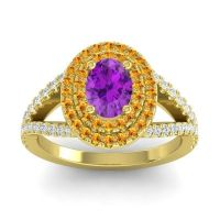 Ornate Oval Halo Dhala Amethyst Ring with Citrine and Diamond in 14k Yellow Gold