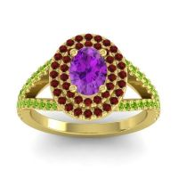 Ornate Oval Halo Dhala Amethyst Ring with Garnet and Peridot in 18k Yellow Gold
