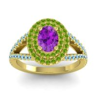 Ornate Oval Halo Dhala Amethyst Ring with Peridot and Aquamarine in 18k Yellow Gold