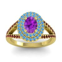 Ornate Oval Halo Dhala Amethyst Ring with Swiss Blue Topaz and Garnet in 18k Yellow Gold