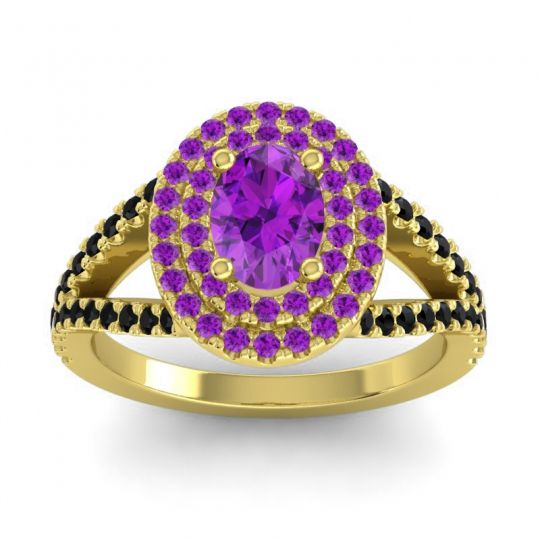Ornate Oval Halo Dhala Amethyst Ring with Black Onyx in 18k Yellow Gold