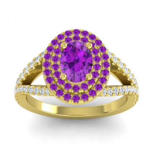 Ornate Oval Halo Dhala Amethyst Ring with Diamond in 14k Yellow Gold