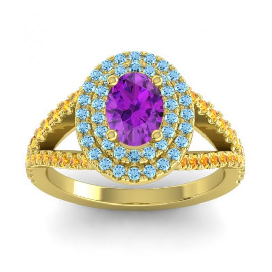 Ornate Oval Halo Dhala Amethyst Ring with Aquamarine and Citrine in 14k Yellow Gold