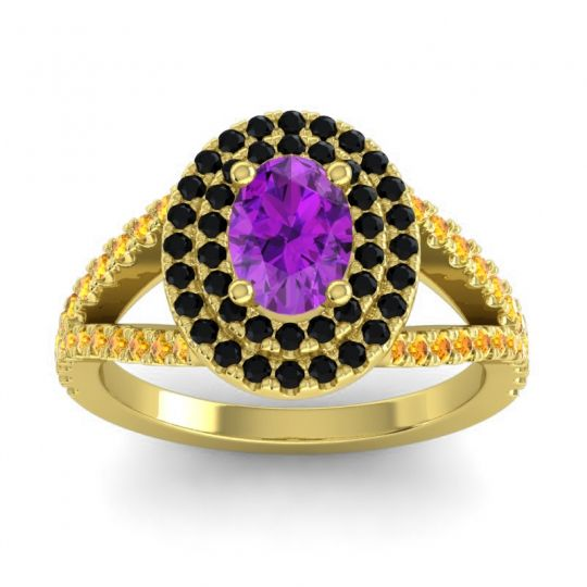 Ornate Oval Halo Dhala Amethyst Ring with Black Onyx and Citrine in 18k Yellow Gold