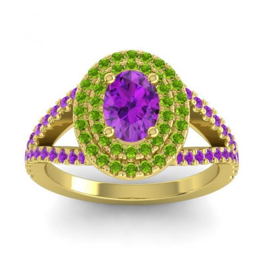 Ornate Oval Halo Dhala Amethyst Ring with Peridot in 18k Yellow Gold