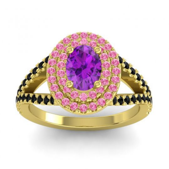 Ornate Oval Halo Dhala Amethyst Ring with Pink Tourmaline and Black Onyx in 18k Yellow Gold