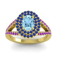 Ornate Oval Halo Dhala Aquamarine Ring with Blue Sapphire and Amethyst in 14k Yellow Gold
